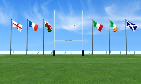 rugby field with the flags of the teams in the six nations tournament