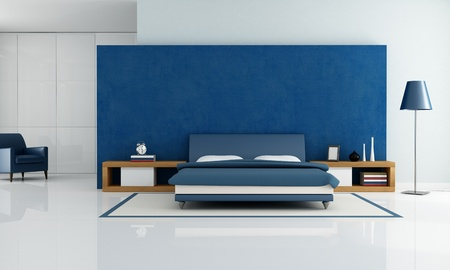 contemporary blue bedroom with white wardrobe and armchair - rendering