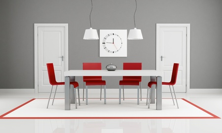 gray and red dining room with two white door - rendering