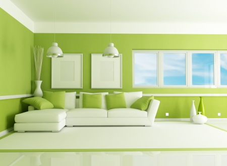 contemporary green living room with angle sofa - rendering