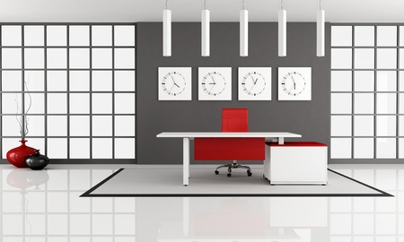 minimalist office space with empty white desk - rendering