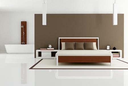 contemporary bedroom with bathtub - rendering