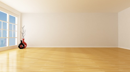 empty white room with parquet floor - rendering