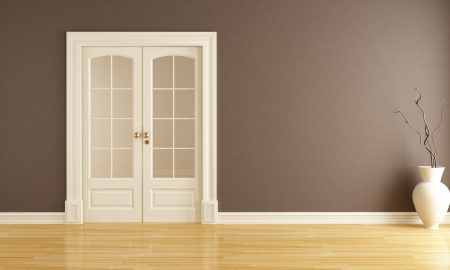 empty brown  interior with  classic sliding door - rendering