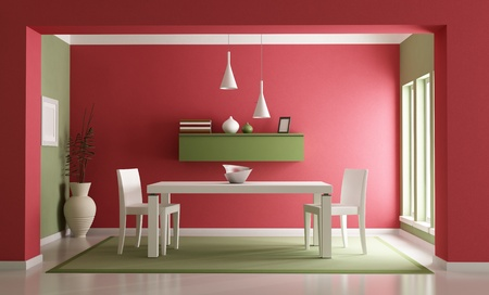 Elegant red ang green dining room-rendering
