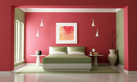 Red and green contemporary bedroom - rendering-the art picture on wall is a my composition