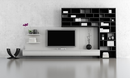 black and white  living room with tv stand and bookcase - rendering