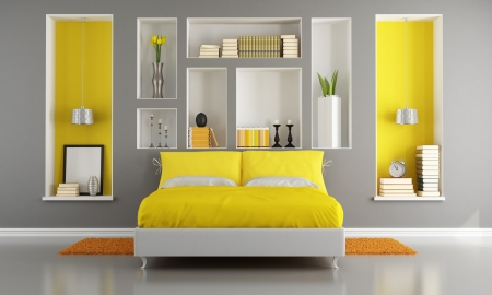 Yellow and gray modern bedroom with double bed and niche - rendering