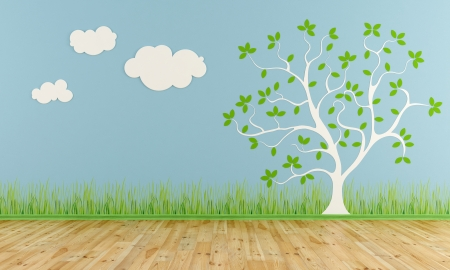 Photo pour Empty child room with stylized tree and clouds on the wall - rendering - image libre de droit