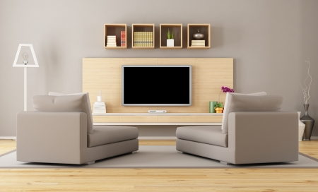 Photo for Cntemporary living room with tv - rendering - Royalty Free Image