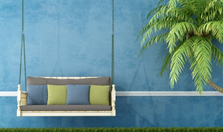 Photo for Vintage wooden swing in the garden against blue wall - rendering  - Royalty Free Image