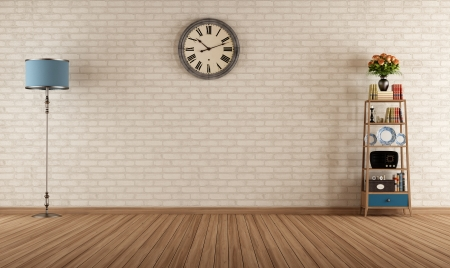 Photo for Empty vintage room with little bookshelves and brick wall - rendering - Royalty Free Image
