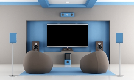modern brown and blue home theater with two fashion armchair - rendering