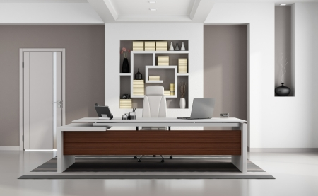 Photo pour Contemporary modern office with elegant desk, niche and closed door  - image libre de droit