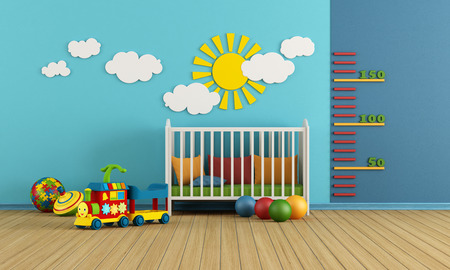 Photo pour Child room with baby crib and toys - rendering - image libre de droit