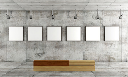 Photo for Grunge art gallery with canvas on concrete panel and wooden  contemporary bench- rendering - Royalty Free Image