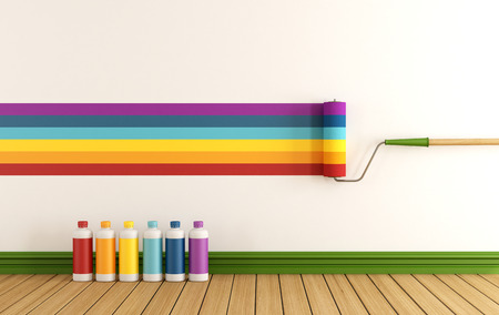 Photo for Select color swatch to paint wall in a empty room with samples of colorful paint - rendering  - Royalty Free Image