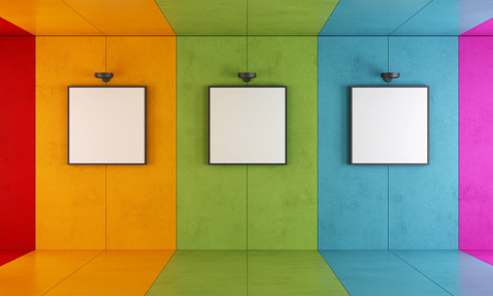 Photo for Colorful modern art gallery with floor and concrete walls - Royalty Free Image