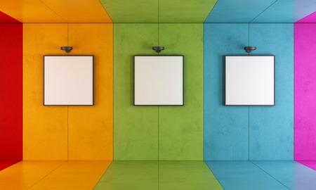 Photo pour Colorful modern art gallery with floor and concrete walls - image libre de droit