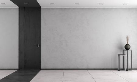 Foto de Minimalist living room with wooden full height door - rendering - Imagen libre de derechos