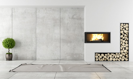 Photo pour Minimalist living room with fireplace without furniture - image libre de droit