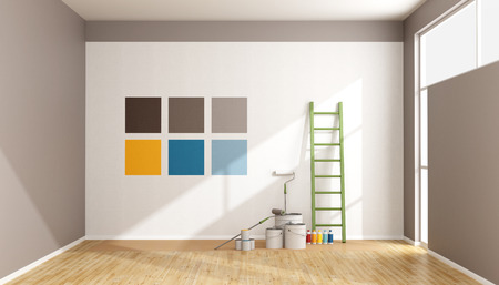 Photo for Select color swatch to paint wall in a minimalist room - rendering - Royalty Free Image