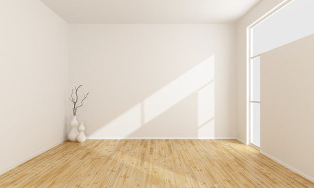 Photo pour Empty white room with wooden floor and window - image libre de droit