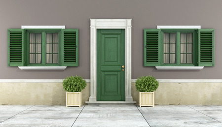 Photo pour Detail of a classic house with green wooden windows and front door - rendering - image libre de droit