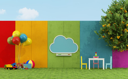 Photo pour School playground for children with cloud chalkboard and toys - 3D Rendering - image libre de droit