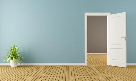 Foto de Blue room with white open door - 3D Rendering - Imagen libre de derechos
