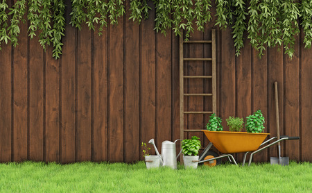 Photo for Garden with an old wooden fence and tools for gardening-3D Rendering - Royalty Free Image