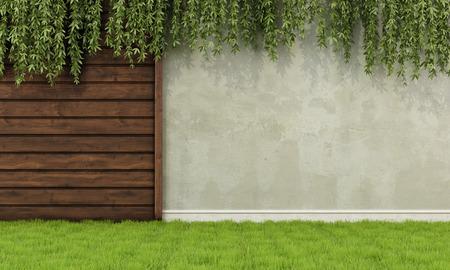 Foto de Garden with old wooden fence and wall - 3D Rendering - Imagen libre de derechos