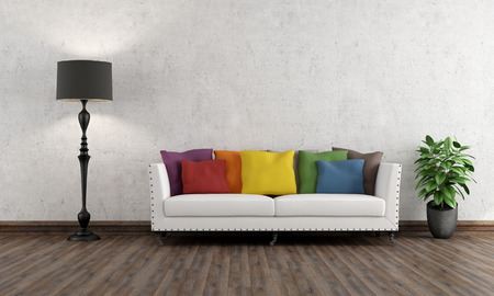 Photo pour Retro living room with colorful couch on wooden floor - 3D rendering - image libre de droit