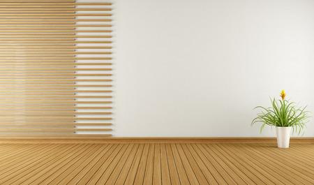 Foto de Empty room with decorative elements in wood - 3D Rendering - Imagen libre de derechos