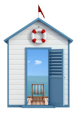 Photo pour Beach cabin with open door, inside a pier on the sea with deckchair - 3D Rendering - image libre de droit