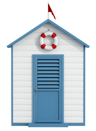 Photo pour White and blue beach cabin with closed door,buoy and little red flag - 3D Rendering - image libre de droit
