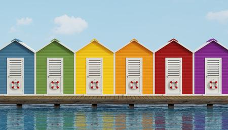 Photo pour Colorful beach cabins on an old wooden pier - 3D Rendering - image libre de droit