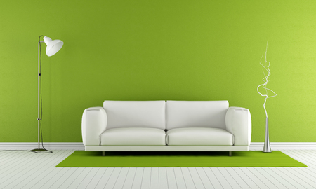 Photo pour Green living room with white sofa and lamp - 3D Rendering - image libre de droit