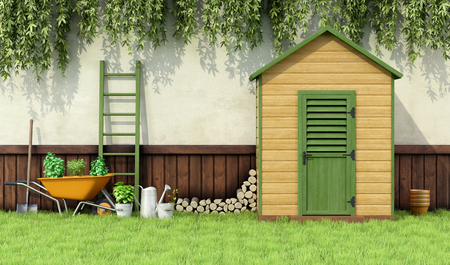 Photo pour Garden with gardening  tools and wooden shed with closed door - 3D Rendering - image libre de droit