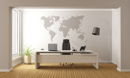 Photo for Minimalist office with desk and world map on wall - 3D Rendering - Royalty Free Image