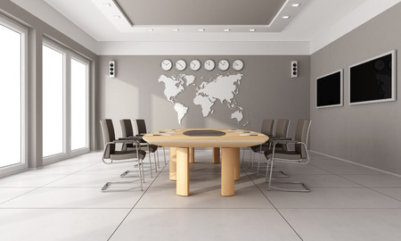 Photo for Contemporary  board room with wooden table,brown hair and world map on wall - 3D Rendering - Royalty Free Image