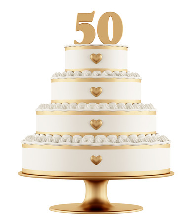 Photo pour Golden wedding cake isolated on white background - 3D Rendering - image libre de droit