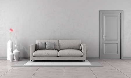 Photo pour Gray living room with modern couch and closed door-3D Rendering - image libre de droit