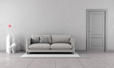 Foto de Gray living room with modern couch and closed door-3D Rendering - Imagen libre de derechos