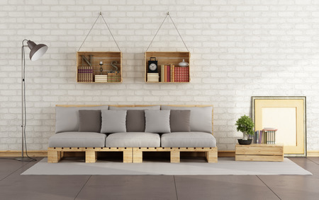 Photo for Living room with pallet sofa and wooden crate with books on brick wall - 3D Rendering - Royalty Free Image