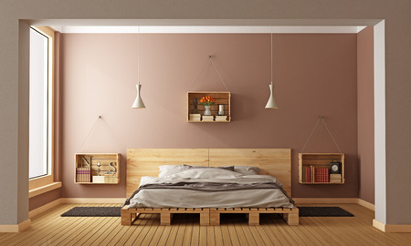 Foto de Bedroom with pallet bed and wooden crates used as nightstands - 3D Rendering - Imagen libre de derechos