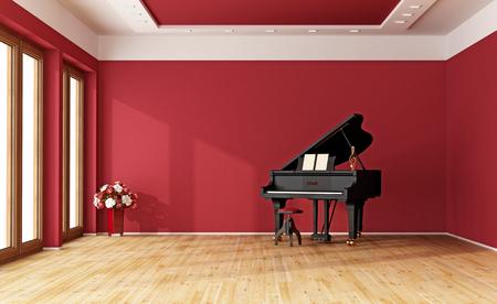 Foto de Large red room with black grand piano - 3D Rendering - Imagen libre de derechos