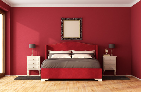 Photo pour Red Classic Bedroom with elegant bed and nightstand - 3D Rendering - image libre de droit