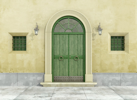 Photo pour Detail of an old facade with green doorway and two little windows - 3D Rendering - image libre de droit