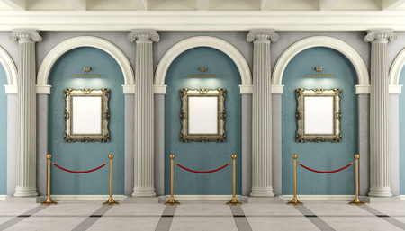 Photo for Classic museum with with colonnade and golden frame on wall - 3D rendering - Royalty Free Image
